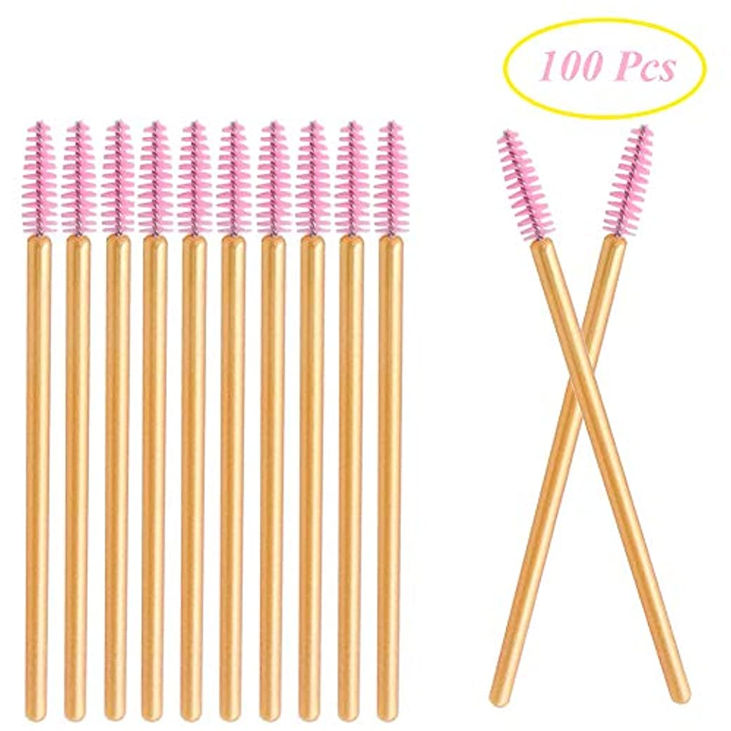パフ暴力的なDeksias 100本金色の竿まつげブラシ 使い捨て スクリューブラシ マスカラブラシ まつげコーム メイクブラシ アイメイク 化粧用品 (ピンク)