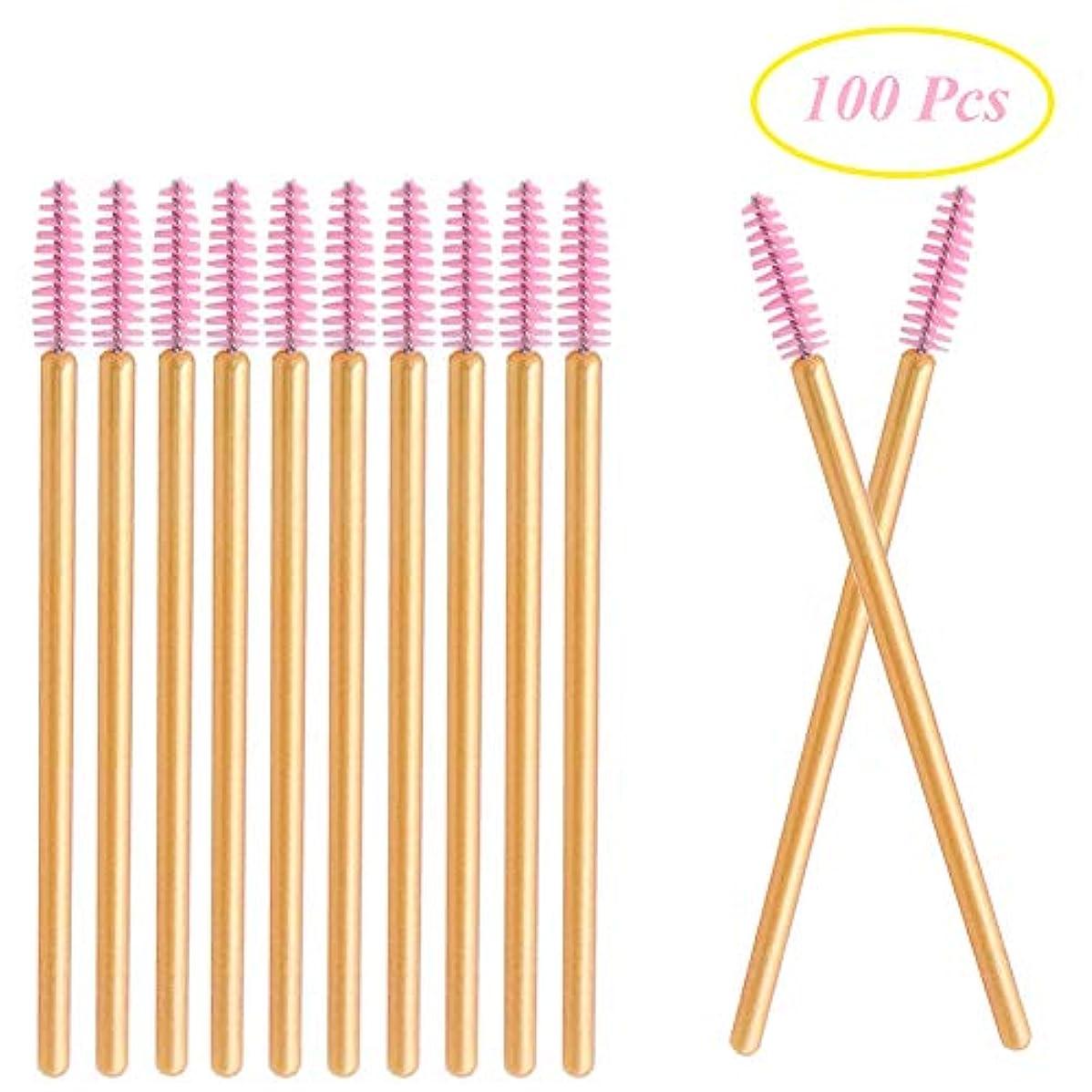 実験をする蒸発するセラフDeksias 100本金色の竿まつげブラシ 使い捨て スクリューブラシ マスカラブラシ まつげコーム メイクブラシ アイメイク 化粧用品 (ピンク)