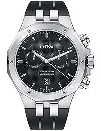 EdoxメンズDelfin元の43mmブラックゴムバンドスチールケーススイスクォーツアナログ腕時計101103CA Nin