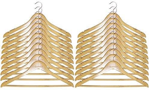 Qualsen 木製ハンガー 衣類ハンガー 洋服ハンガー すべらない 肩部分に凹み付き 滑り止め ス...