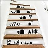 Yanqiao 25*55cm 新DIY漫画のマウス階段階段ステッカーリムーバブルビニールウォールステッカーホームインテリア装飾壁紙、ブラック