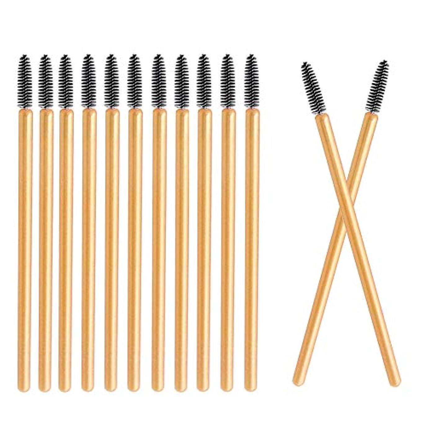 退却法律によりスペクトラムDeksias 100本金色の竿まつげブラシ 使い捨て スクリューブラシ マスカラブラシ まつげコーム メイクブラシ アイメイク 化粧用品 (黒色)