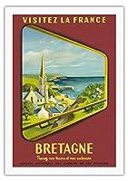 ブルターニュ - フランスを訪問 - フランス国有鉄道 - ビンテージな鉄道旅行のポスター によって作成された ジャン・ガルシア c.1953 - 美しいポスターアート
