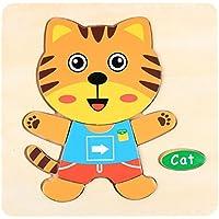 HuaQingPiJu-JP 子供のための素敵な木製の就学前の猫の形の認知ボード教育パズル