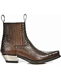 New Rock Shoes - Men's Brown Snake Skin Effect Leather Boots