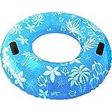 FIELDOOR 便利な持ち手付き ジャンボ 浮き輪 大きい うきわ 使用時直径95cm ブルー (ヤシの木柄) 大人用