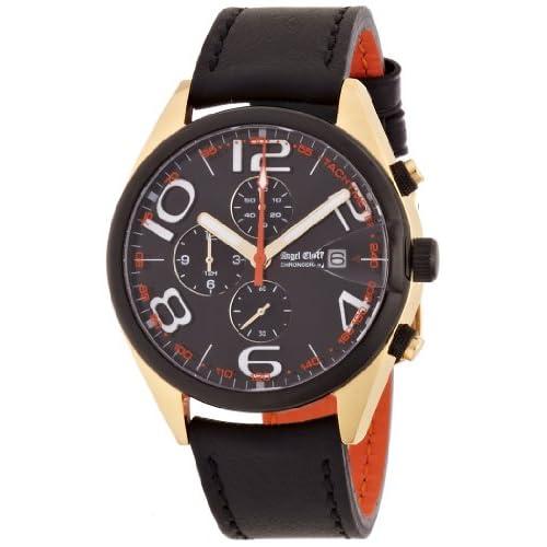 [エンジェルクローバー]Angel Clover 腕時計 タイムスナイパー ブラック文字盤  カーフ革ベルト デイト 10気圧防水 クロノグラフ TS40YBK-BK メンズ