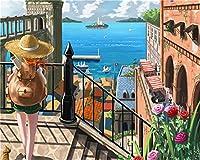 CaptainCrafts 数字による新しいペイント大人初心者向け, DIYの印刷済みリネンキャンバスの油絵キット家の装飾のギフト16x20インチ - 少女と海の風景 (フレームなし)