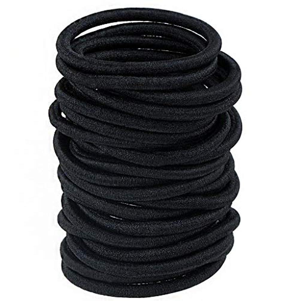 節約表現団結する100個 ヘアロープ 黒 弾性ヘアバンドルポニーテールホルダーガールヘアゴム 女の子や薄い女性のために小さい DIYいくつかの美しい弓バンド (ブラック)