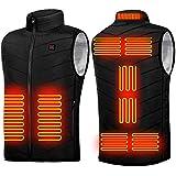 加熱ベスト 9つヒーター ヒートジャケット 加熱服 USB充電式電熱ベスト 3段階温度調整 保温 防寒 超軽量 臭くない 水洗い可 男女兼用 水洗い可能 アウトドア防寒対策