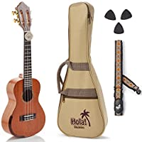 Concert Ukulele Professional Series by Hola! Music (Model HM-424SMM+) Bundle Includes: 24 Inch SOLID Mahogany Top Ukulele with Aquila Nylgut Strings Installed Padded Gig Bag Strap and Picks [並行輸入品]