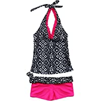 YiZYiF Kids Big Girls' Youth 2 Piece Zebra Halter Tankini Swimwear Bathing Suit