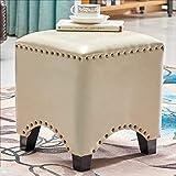 AINIYF ビンテージスクエアフェイクレザーフットレストスツール/布張りフットスツール/トリム装飾付きコーヒーテーブルスツール(正方形) (色 : E)