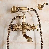 シャワーセット銅のヨーロッパのアンティークのバスルームホットとコールドの蛇口ハンドシャワーシャワーセット、ブロンズ