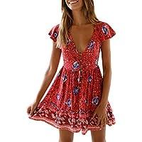Cheap Womens Boho Holiday Beach Mini Bandage Dress Ladies Floral Ruffled V-Neck Party