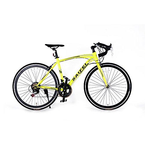 ロードバイク700C 初心者SD-01自転車 14段変速 男女兼用 通勤通学 軽量 ドロップハンドル (グリーン)