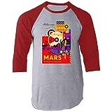 Pop Threads Mars Visit The Historic Sites NASA Space Travel Raglan Baseball Tee Shirt