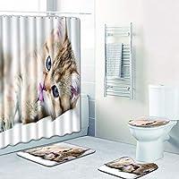 XUEPING 4ピースバスセット:(防水シャワーカーテン+滑り止めバスルームカーペット+台座絨毯+便座カバー) 猫の8パターン (色 : B)