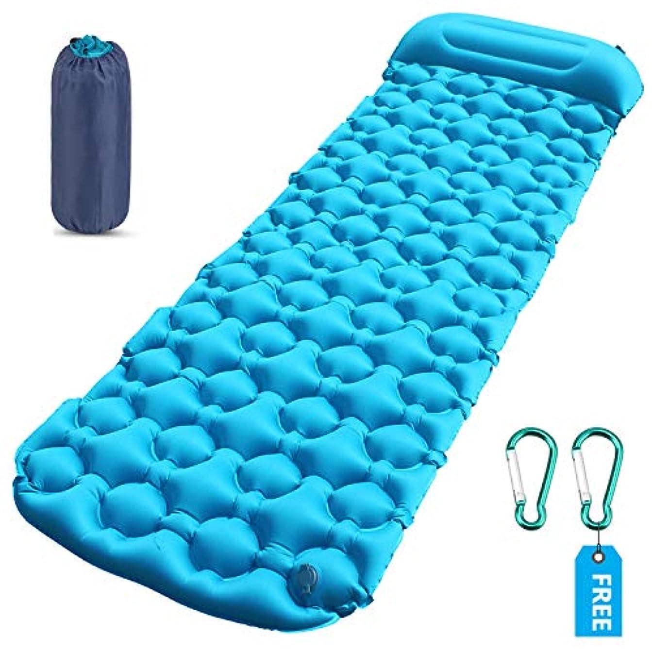 ミスペンド突き出すマニュアルAeman Sleeping Pad for Camping – 超軽量コンパクトAirインフレータブル枕ポータブルアウトドアバックハイキングのSleepingマットマットレスパッド – フリー2 xカラビナ+ 2 x修復パッチ