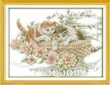 【アップフェル】 クロス ステッチ キット 【 フラワー と ネコ D584】 Flowers and cats 刺繍 キット 56cm*43cm 手芸 刺繍 花 猫 通販