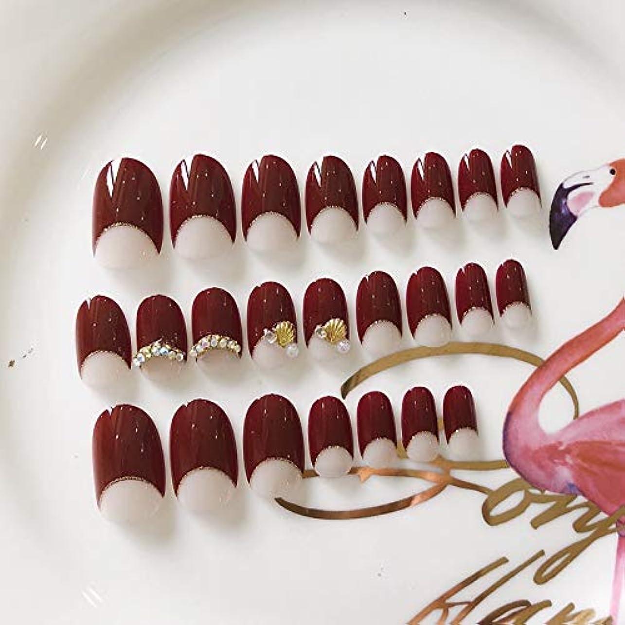 可動スーパー近々Jonathan ハンドケア 偽爪キット24pcs赤とパールエレガントタッチフレンチマニキュアフェイクネイルグルーフルカバーミディアムレングス