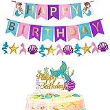 RUBFAC マーメイド ハッピーバースデー バナー グリッター マーメイド ケーキ トッパー ベビーシャワー 誕生日パーティー デコレーション