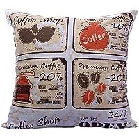 印刷コーヒー朝食領域装飾投げクッションカバーアクセント枕ケースInvisible Zipperマルチカラー100 %コットン