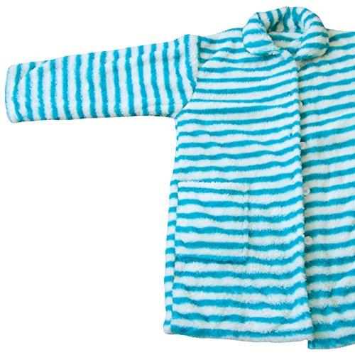 毛布屋さんのつくった 着る毛布 マイクロファイバー ルームウェア フリーサイズ ボーダー柄 ターコイズブルー&ホワイト
