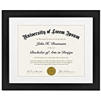 (1) - Americanflat 11x 14 Document Frame - Made for Documents Sized 22cm x 28cm with Mat and 28cm x 36cm without Mat, Black