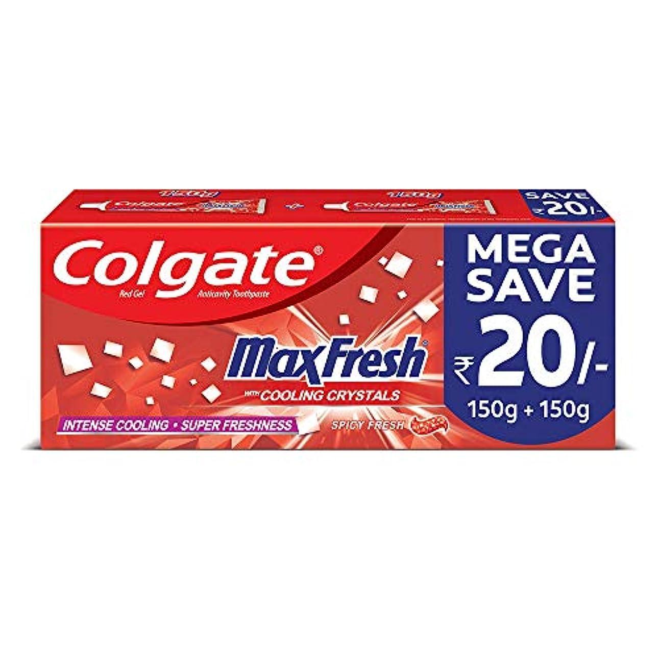 番目静的カップルColgate MaxFresh Anticavity Toothpaste Gel, Spicy Fresh - 300gm