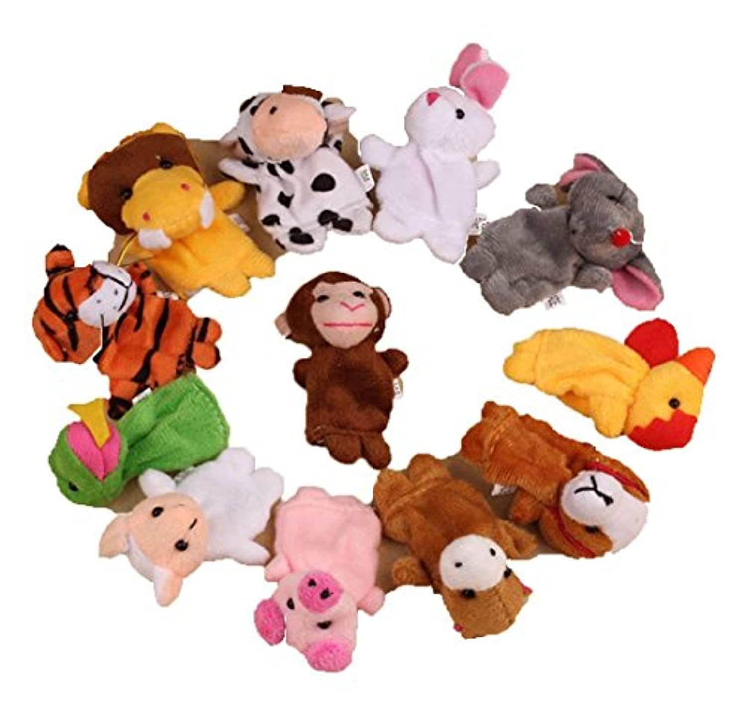 (Colorfol) - 12Pcs Chinese Zodiac Finger Toys,Hemlock Kids Cute Soft Animal Finger Puppet Playing Toys (Colorfol)