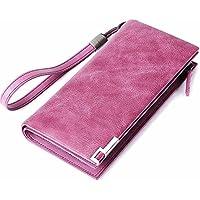 レディースウォレットロングジップレザーウォレットカウハイドハンドバッグマルチカードポケットウォーカーハイビスカスパープルルージュピンク (色 : 紫の)