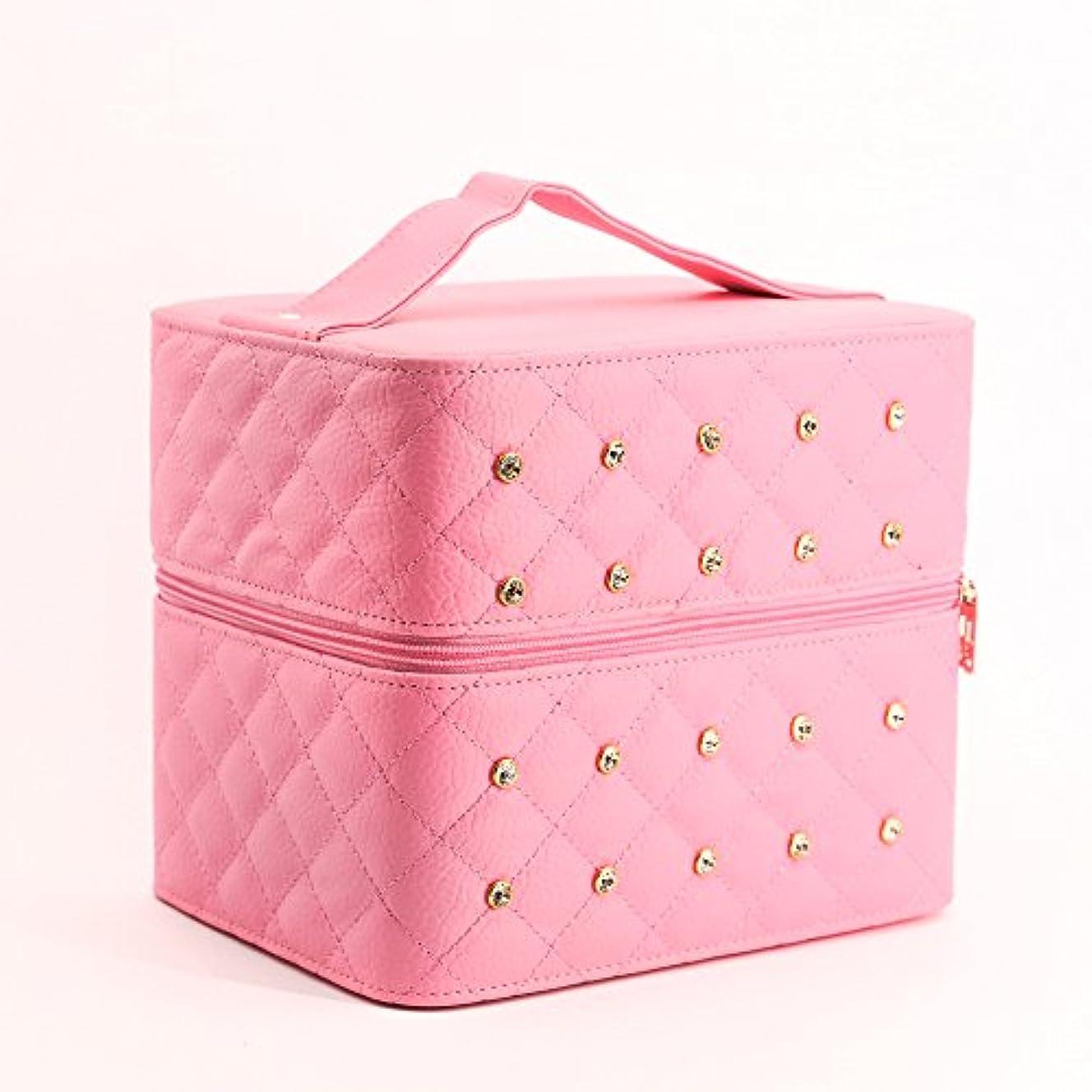正当な関係手がかりAZBEX-TEC メイクボックス 取っ手付 ミラー付き (ピンク)