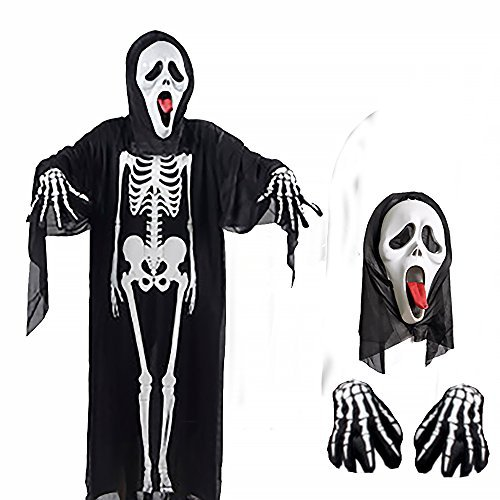 Alen(アレン)羽織るだけで仮装 スケルトン ゴースト 衣装 マント メンズ お面 手袋 3点セット F 160-175cm対応