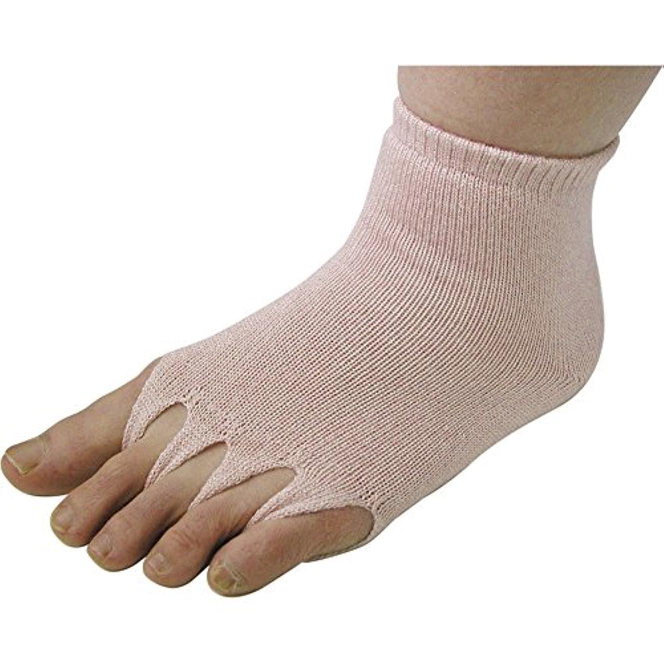 ポークビジュアル吐き出すユニロック 指ぬき健康ソックス ゴムあり M (サーモンピンク)