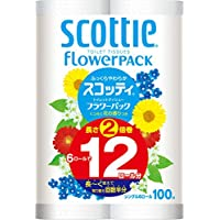 スコッティ フラワーパック 2倍巻き(6ロールで12ロール分) トイレット 100mシングル