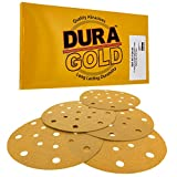 "Dura-Gold - Premium - 120 Grit - 6"" Gold Sanding Discs - 17-Hole Pattern Dustless Hook and Loop for DA Sander - Box of 50 Finishing Sandpaper Discs for Woodworking or Automotive"