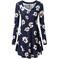 HUHOT Women's Fall Floral Print Long Sleeve V Neck Tunic Loose Blouse Tops
