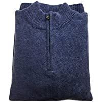 jacksmith Men's Shetland Wool 1/4 Zip Up Cardigan Sweater Knitted Jumper Pullover (XXX-Large, Sky)