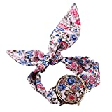 PolytreeレディースGirl 's花柄布バンドフラワードレスクォーツ腕時計(タイプ16)