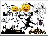 [fiveAstar]ハロウィン ウォール ステッカー Happy Halloween 魔女 クモ コウモリ カボチャ【空気抜き スクレーパー 付】《完成予定 66cm×48cm》賃貸 物件 模様替え 貼り直し 可能 A282