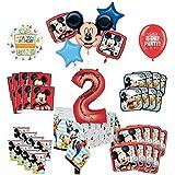 Mayflower Products ミッキーマウスと友達 2歳の誕生日パーティー用品 16ゲストデコレーションキットとバルーンブーケ