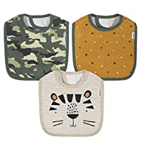 Gerber Baby Boys' 3-Pack Dribbler Bib, Tiger Gold, One size