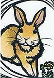 ねこの引出し 猫切り絵作家「さとうみよ」のポストカード「タンポポ 兎」