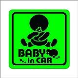 ノーブランド 緑 赤ちゃん&哺乳瓶 BABY in CAR シール ステッカー デカール