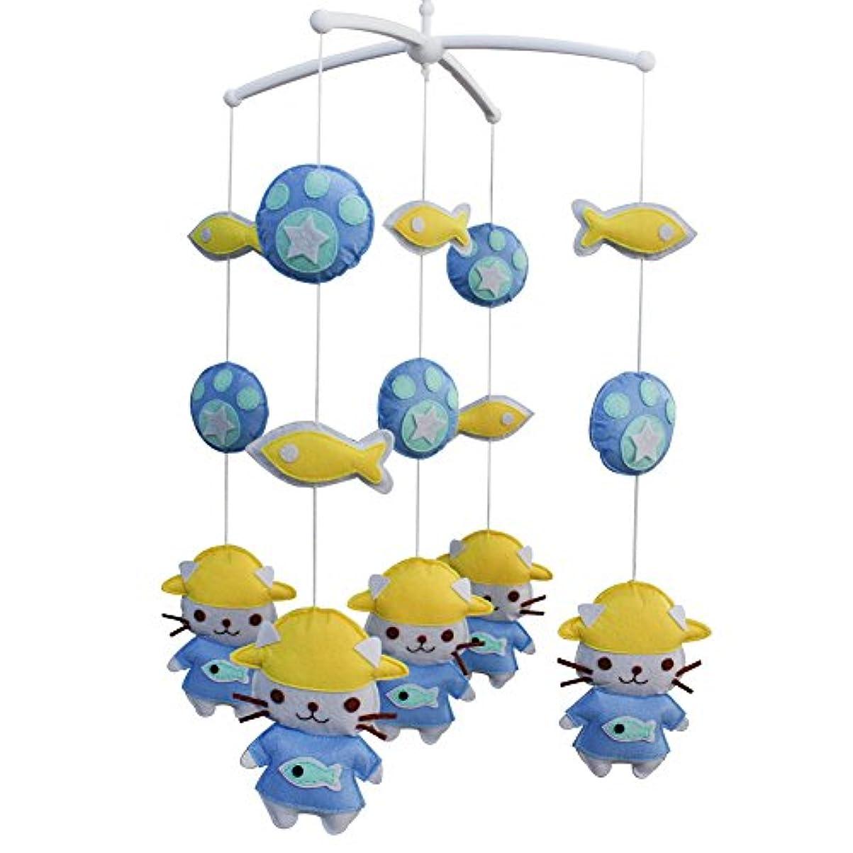 謎めいた小康丈夫黄色い魚と青い猫手作りベビーベッドモバイル動物保育園の装飾ミュージカルベビーベッドモバイルボーイズガールズベビーシャワーギフト