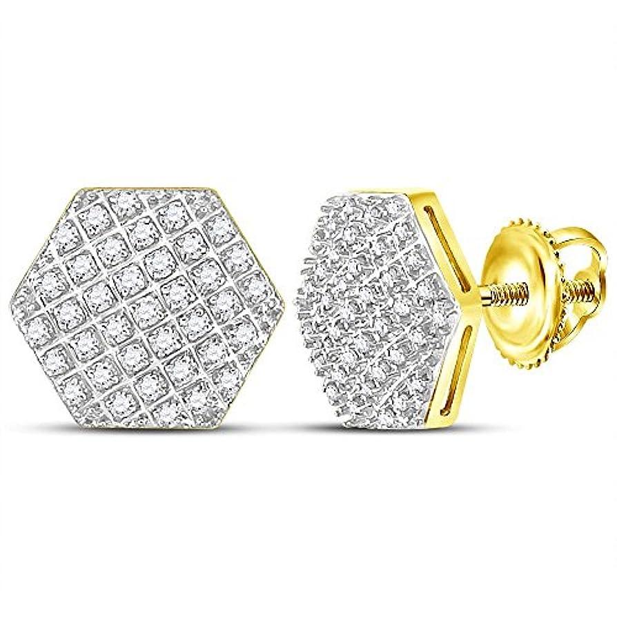 差し控える君主声を出して10kt イエローゴールド メンズ ラウンドダイヤモンド 六角クラスタースタッドピアス 1/5 Cttw