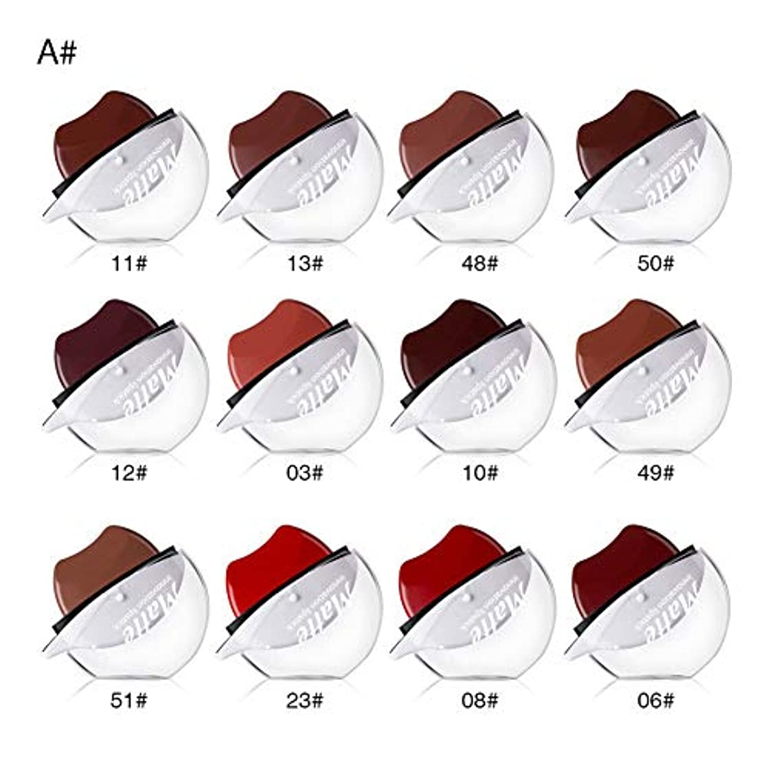 石炭くすぐったい純粋にMeterMall 12色長続きがする怠惰な唇の形の口紅防水長続きがする保湿の口紅 A(12色/セット)