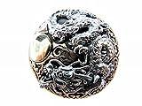 ムーンドラゴン 満月と昇り龍 和柄  コンチョ CONCHO シルバー925+銅+真鍮製