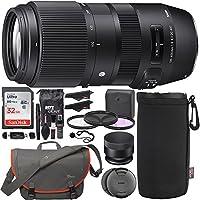 Sigma 100–400mm f / 5–6.3DG OS HSM Contemporaryレンズfor Nikon F、SanDisk Ultra 32GBメモリカード、Loweproパスポートメッセンジャーメッセンジャーバッグ、フィルタキット、レンズポーチ、カードリーダーとアクセサリーバンドル